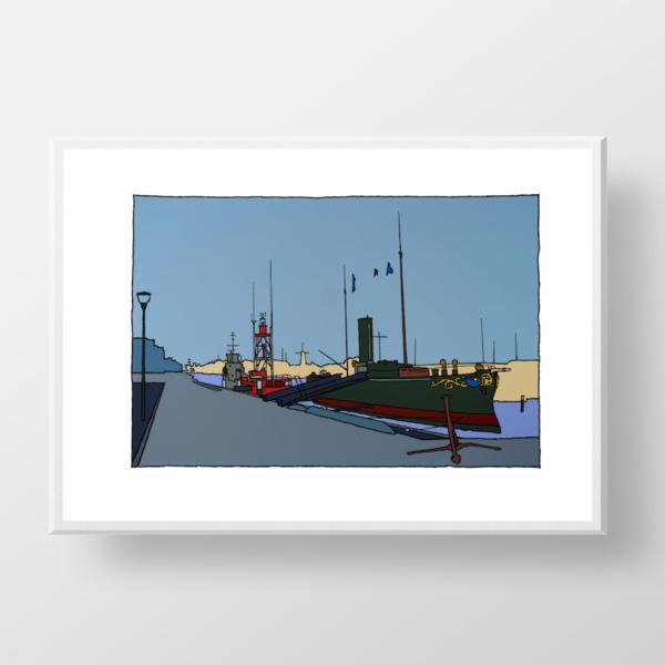 Een zeefdruk gemaakt door de kunstenaar Wim van Willegen van de Koningskade in Hellevoetsluis.