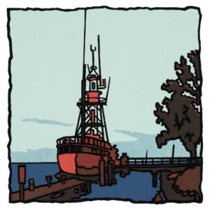 Zeefdruk van het Lichtschip in Hellevoetsluis.