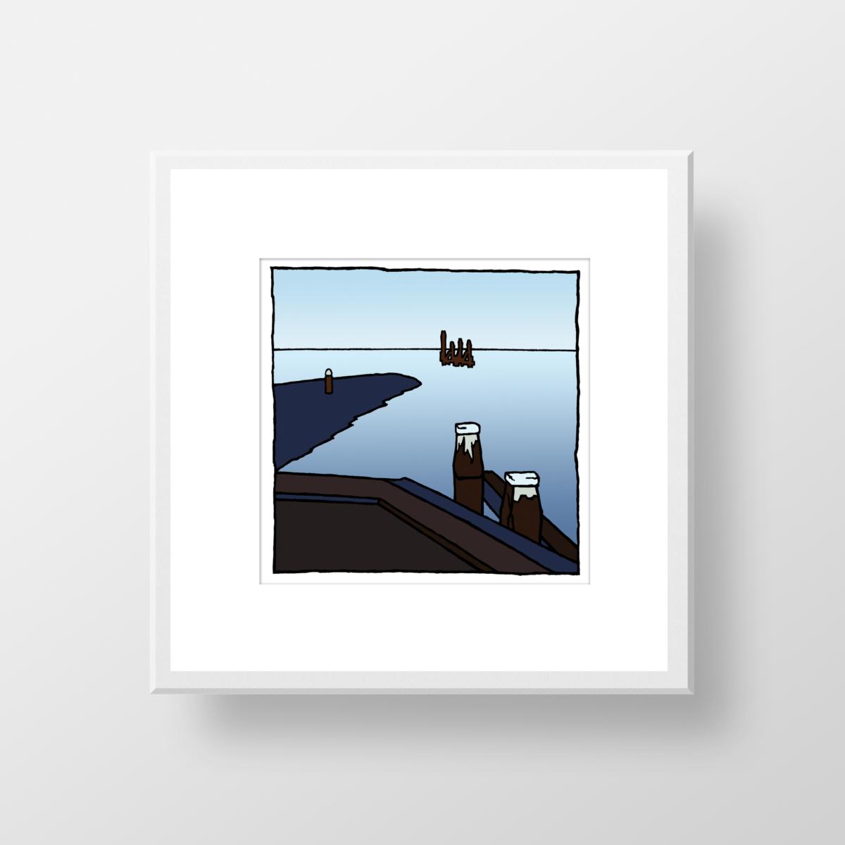 Fine art print in lijst van het Zuidfront in Hellevoetsluis gemaakt door kunstenaar Wim van Willegen.
