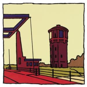 Zeefdruk van Assendelft gemaakt door kunstenaar Wim van Willegen.