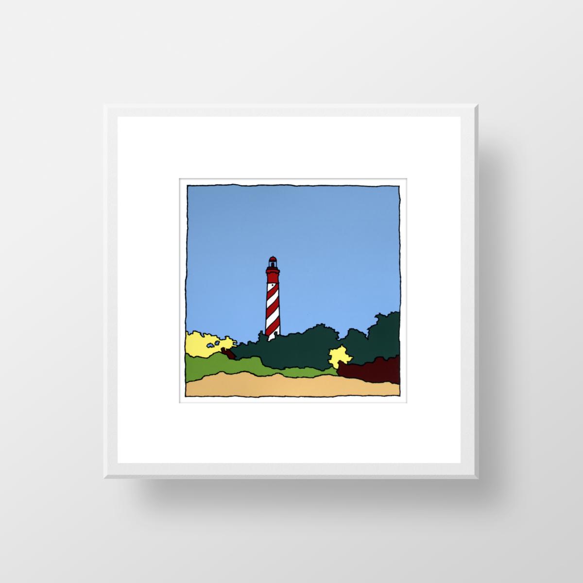 De vuurtoren van Burgh Haamstede in de lente, een ingelijste zeefdruk gemaakt door kunstenaar Wim van Willegen.