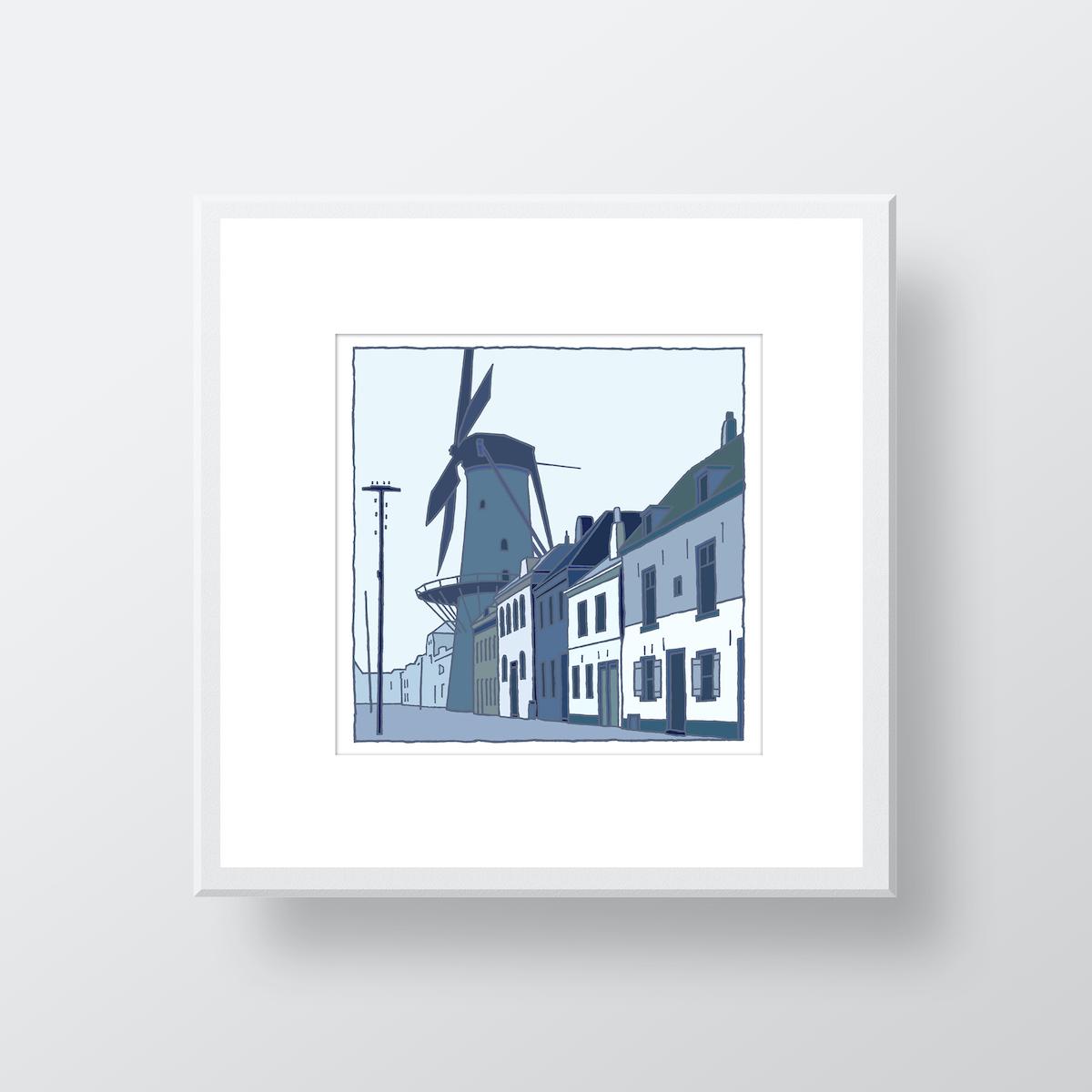 Fine art print van de molen in Hellevoetsluis in de oude situatiegemaakt door de kunstenaar Wim van Willegen.