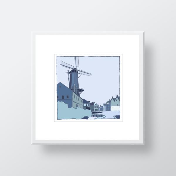 Fine art print van de molen in Schiedam in de oude situatie gemaakt door de kunstenaar Wim van Willegen.