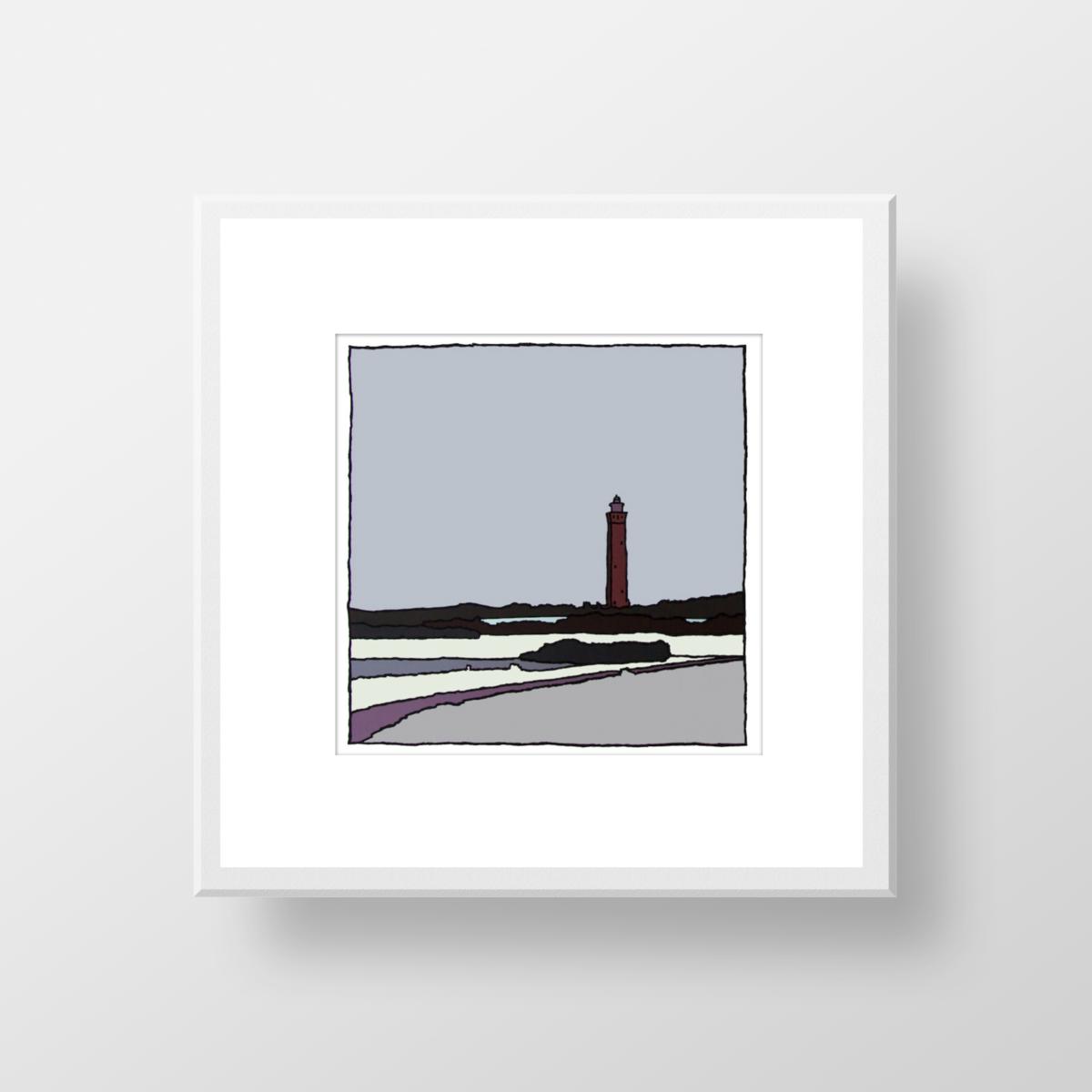 De vuurtoren van Ouddorp in de winter, een zeefdruk in lijst gemaakt door kunstenaar Wim van Willegen.