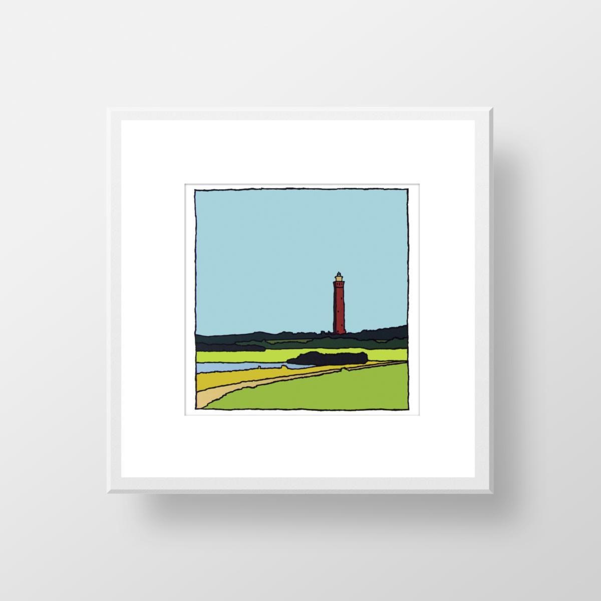 De vuurtoren van Ouddorp in de zomer, een zeefdruk in lijst gemaakt door kunstenaar Wim van Willegen.