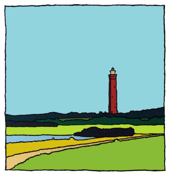 De vuurtoren van Ouddorp in de zomer, een zeefdruk gemaakt door kunstenaar Wim van Willegen.