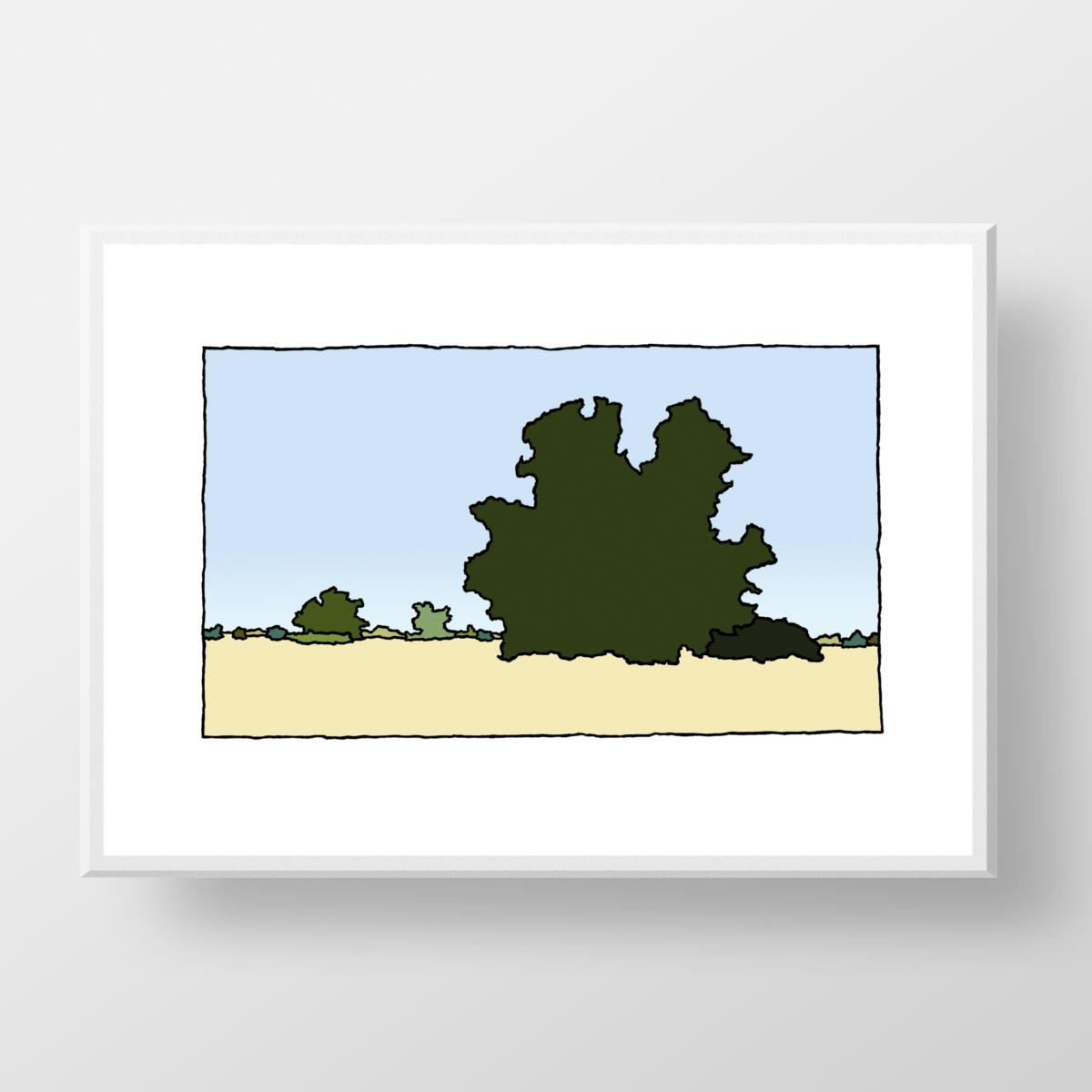 Een fine art print van de kunstenaar Wim van Willegen van het natuurgebied de Beninger Slikken op Voorne-Putten.