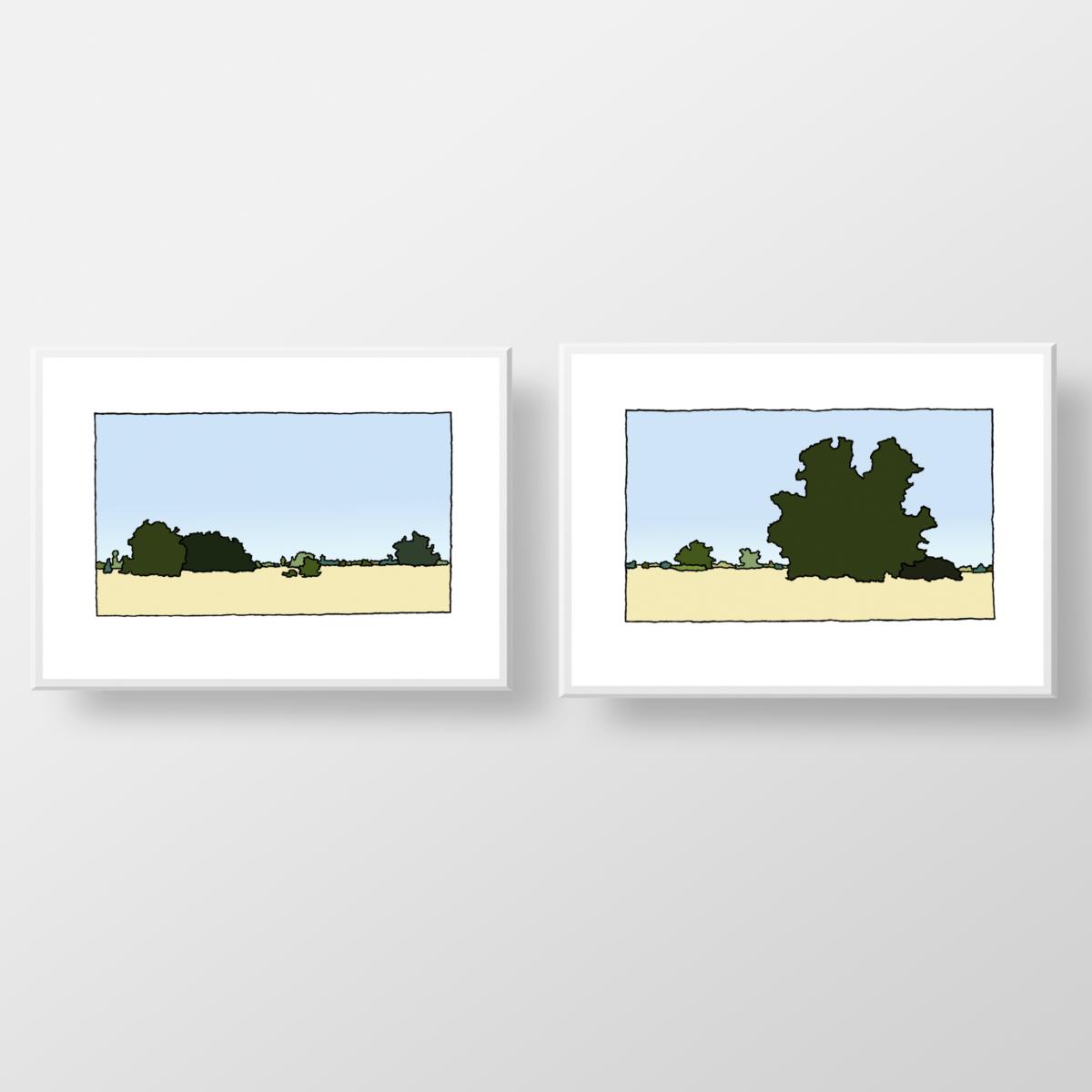 Twee fine art prints van de kunstenaar Wim van Willegen van het natuurgebied de Beninger Slikken op Voorne-Putten.