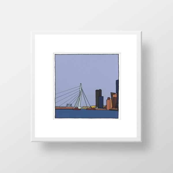 Zeefdruk van de Erasmusbrug in Rotterdam gemaakt door kunstenaar Wim van Willegen.