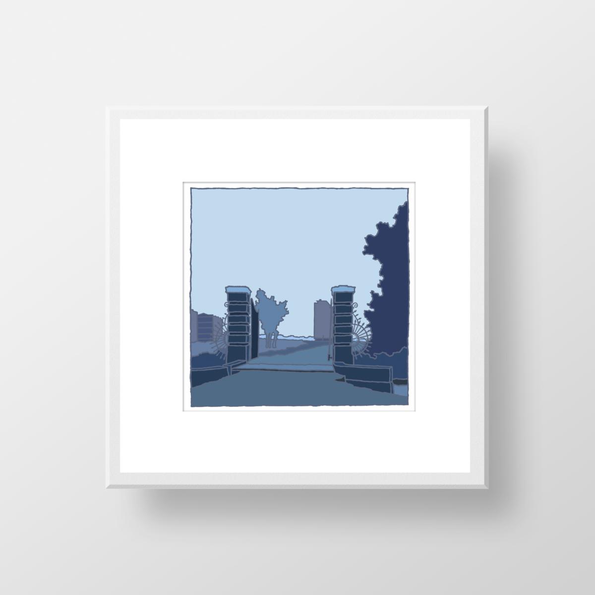 Spieringshoek Schiedam in de oude tijd, een fine art print in lijst van de kunstenaar Wim van Willegen.
