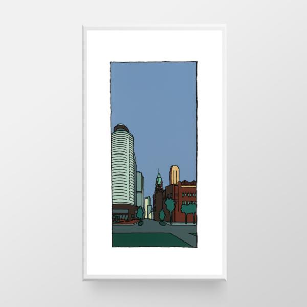 Hotel New York, een zeefdruk van kunstenaar Wim van Willegen.
