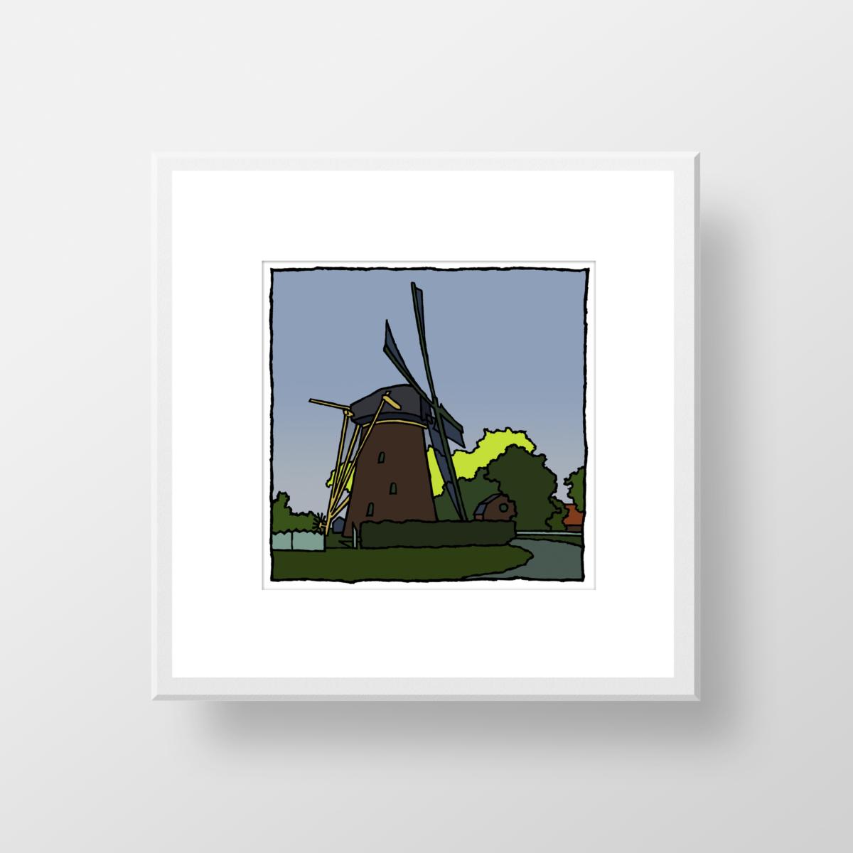 De molen van Rockanje, een fine art print in een lijst van de kunstenaar Wim van Willegen
