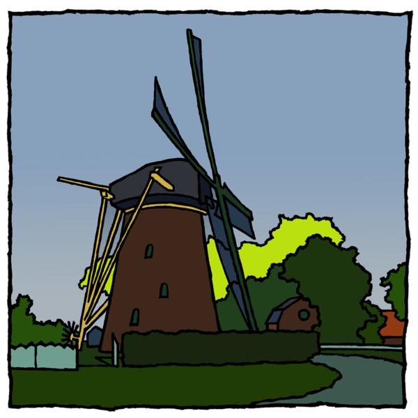 De molen van Rockanje, een fine art print van de kunstenaar Wim van Willegen.