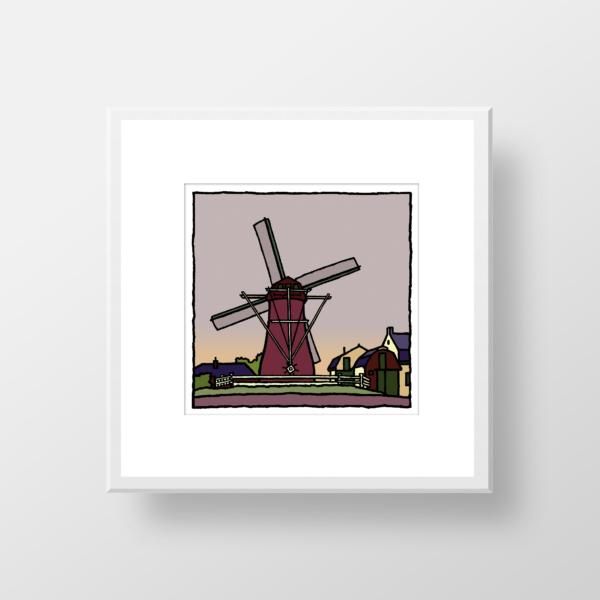 Fine art print van de molen van Abbenbroek gemaakt door kunstenaar Wim van Willegen.