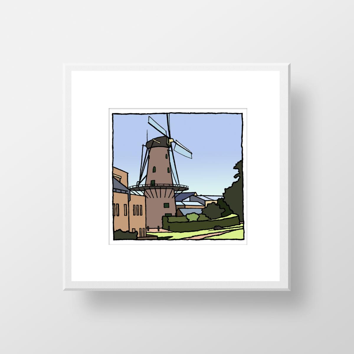 Een fine art print van de molen van Hellevoetsluis gemaakt dor de kunstenaar Wim van Willegen.