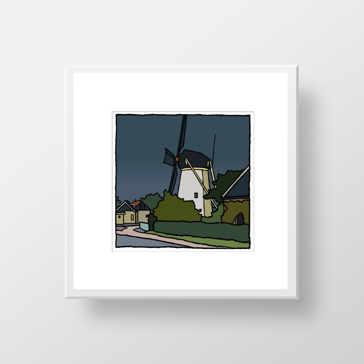 De molen van Nieuwenhoorn als fine art print gemaakt door de kunstenaar Wim van Willegen.