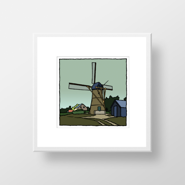 De molen van Oostvoorne, een fine art print in lijst van de kunstenaar Wim van Willegen.