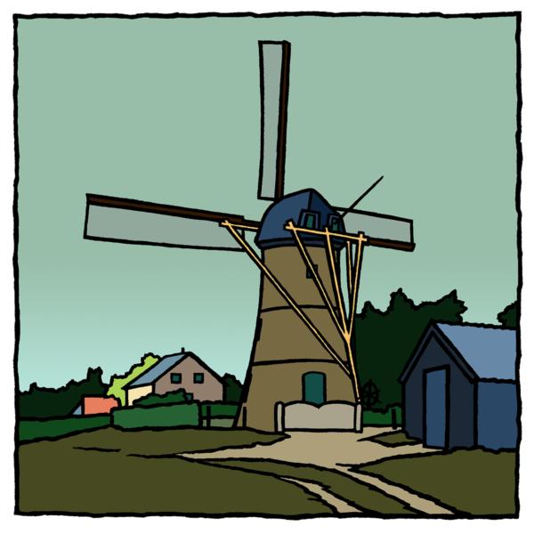 De molen van Oostvoorne, een fine art print van de kunstenaar Wim van Willegen.