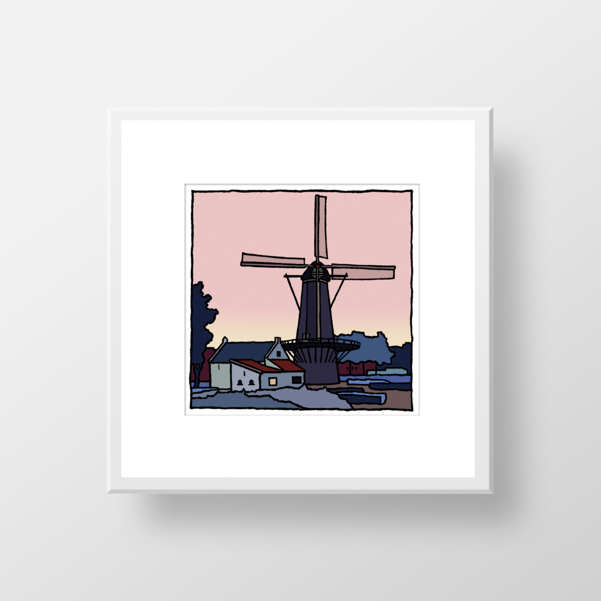 De molen van Rozenburg als fine art print gemaakt door Wim van Willegen.