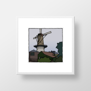 De molen van Spijkenisse als ingelijste fine art print gemaakt door de kunstenaar Wim van Willegen.