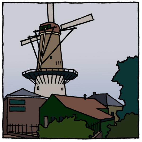 De molen van Spijkenisse als fine art print gemaakt dor de kunstenaar Wim van Willegen.