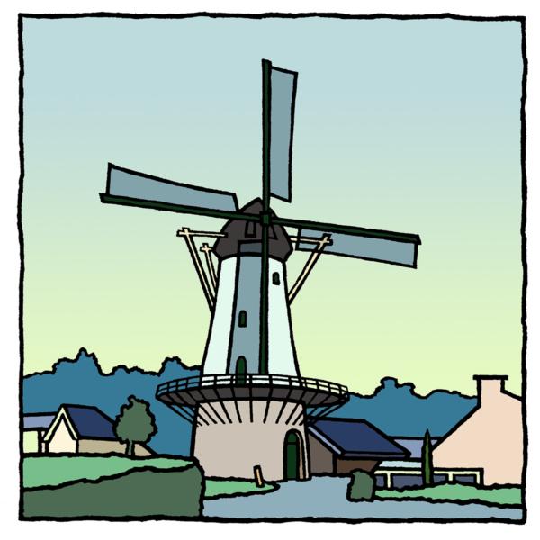 De molen van Zuidland, een fine art print van de kunstenaar Wim van Willegen.