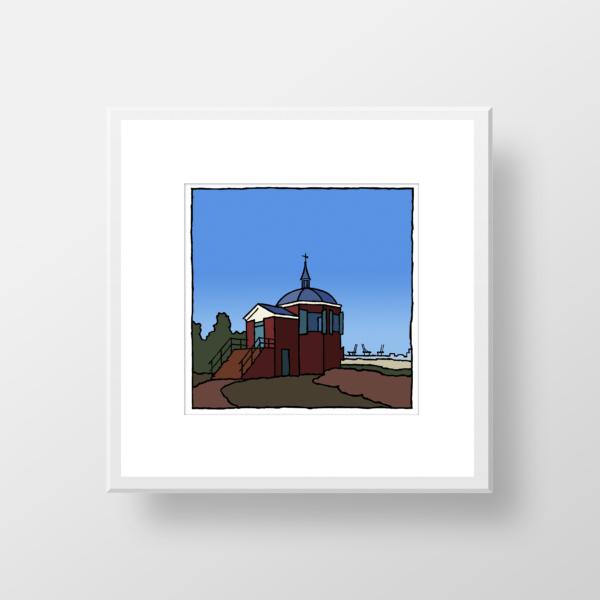 Fine art print van de Koepel Zeeburg in Oostvoorne in lijst.