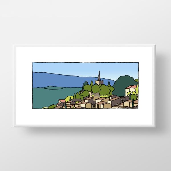 Fine art print van het franse plaatsje Bonnieux gemaakt door kunstenaar Wim van Willegen.