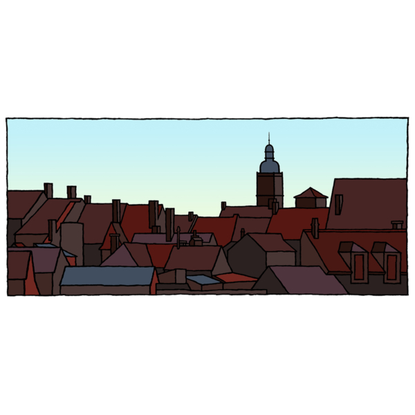 Fine art print van het franse plaatsje Salieu gemaakt door kunstenaar Wim van Willegen.
