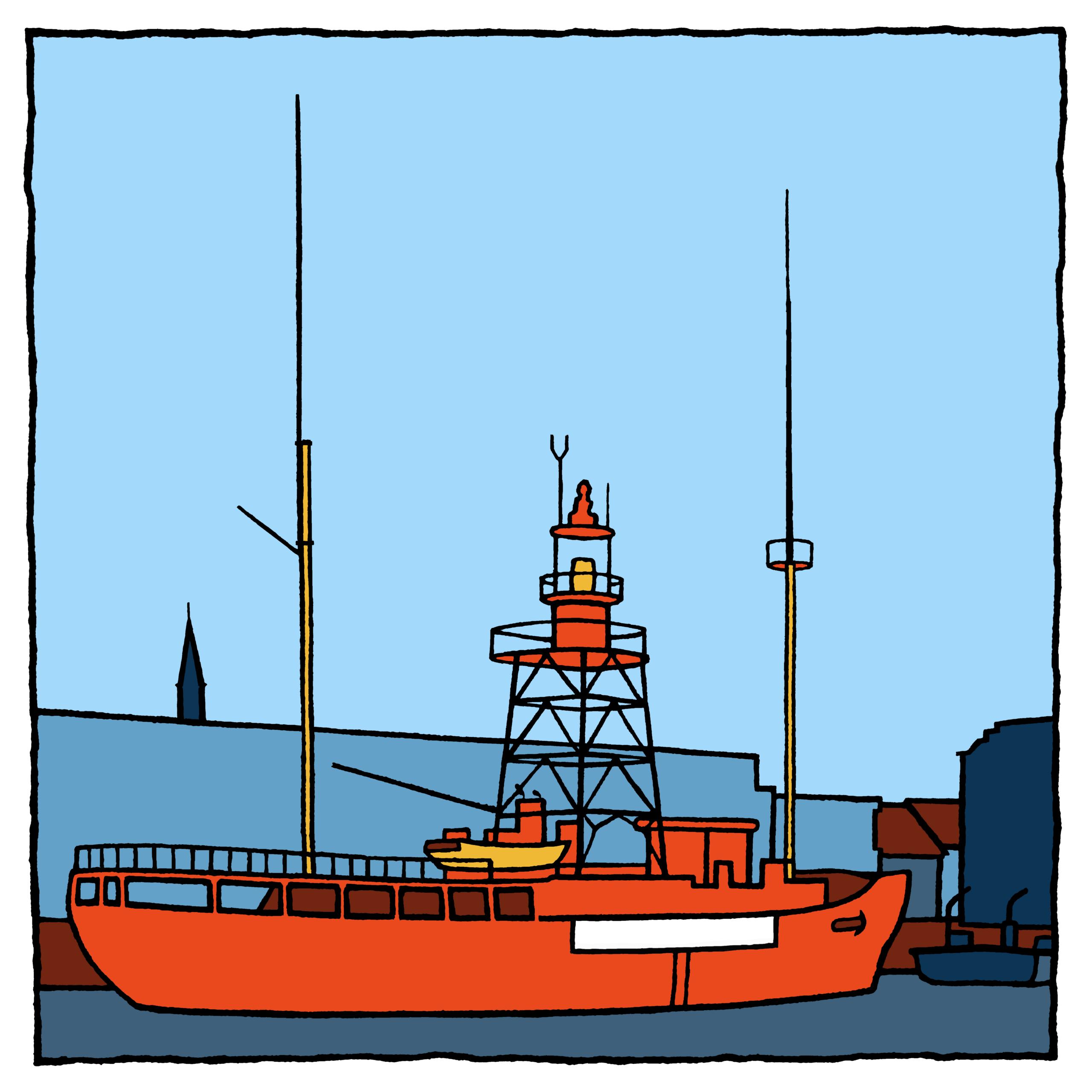 Een zeefdruk van het lichtschip in Hellevoetsluis gemaakt door kunstenaar Wim van Willegen